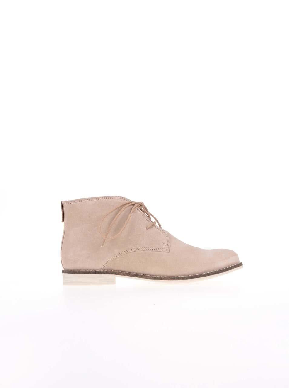 4053cf9d30 Krémové dámské kožené kotníkové boty s.Oliver ...