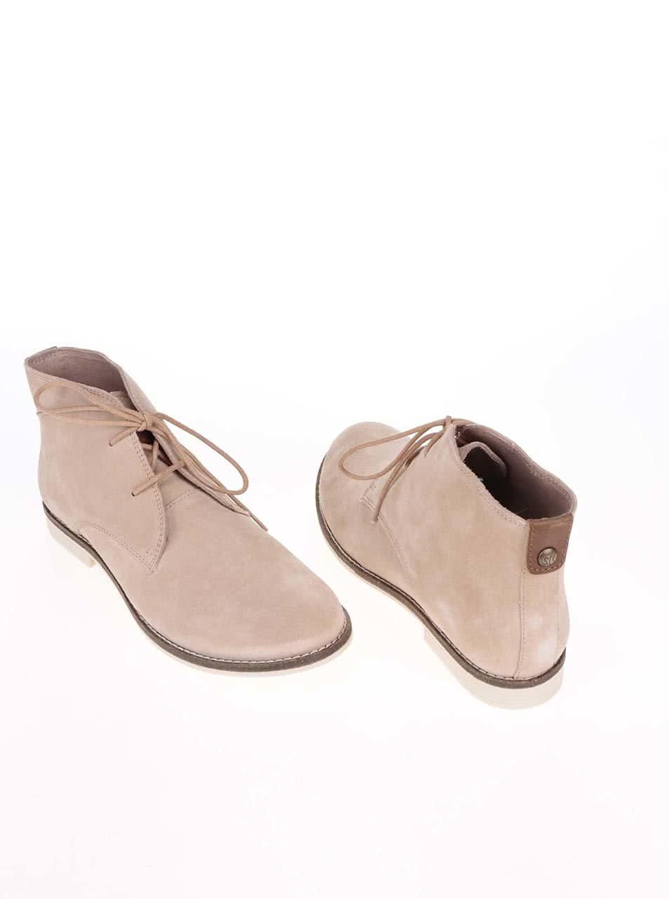 4c7d3920540d Krémové dámske kožené členkové topánky s.Oliver ...