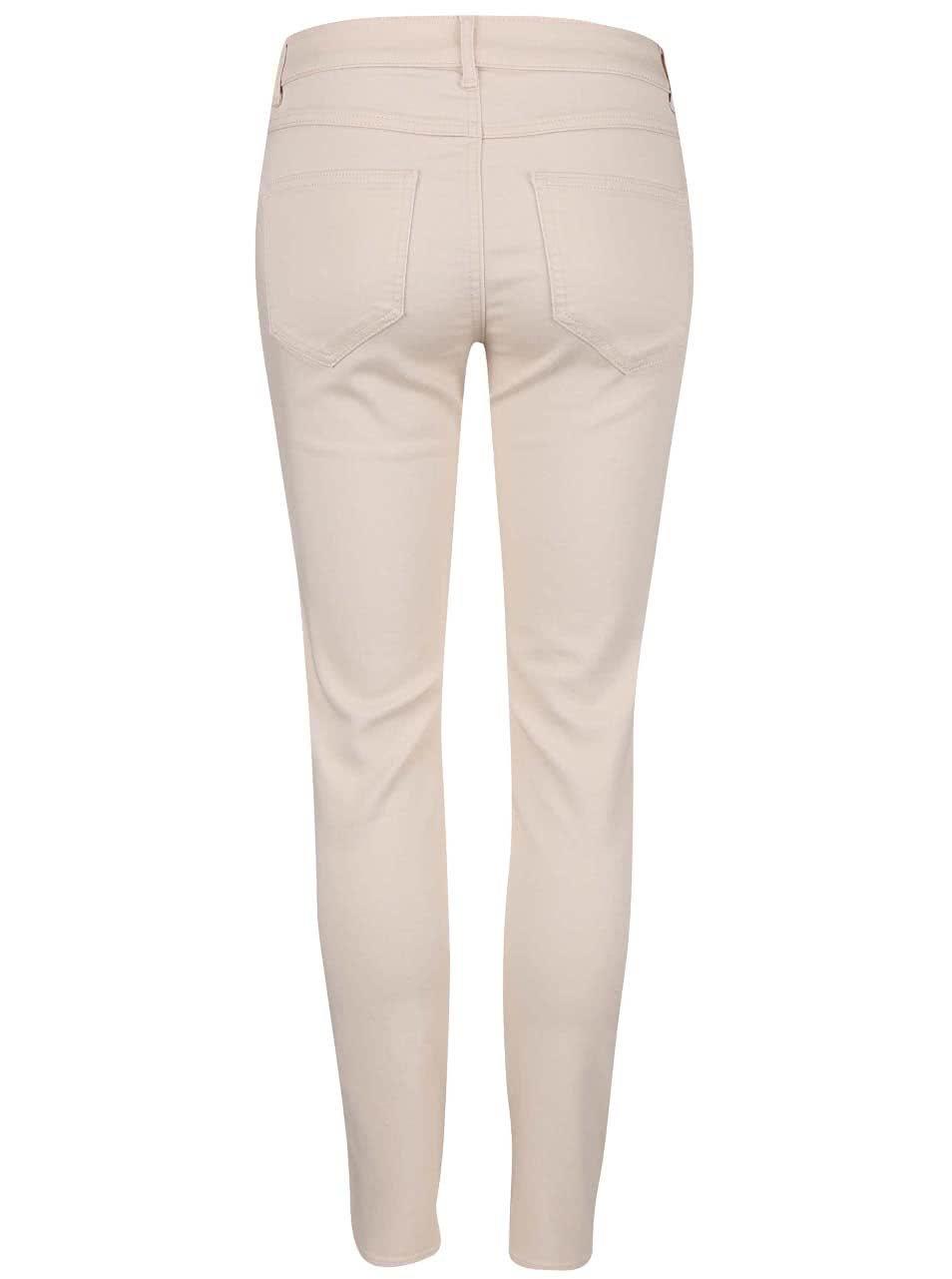 Krémovorůžové úzké kalhoty VILA Commit ... fdb716b1bb