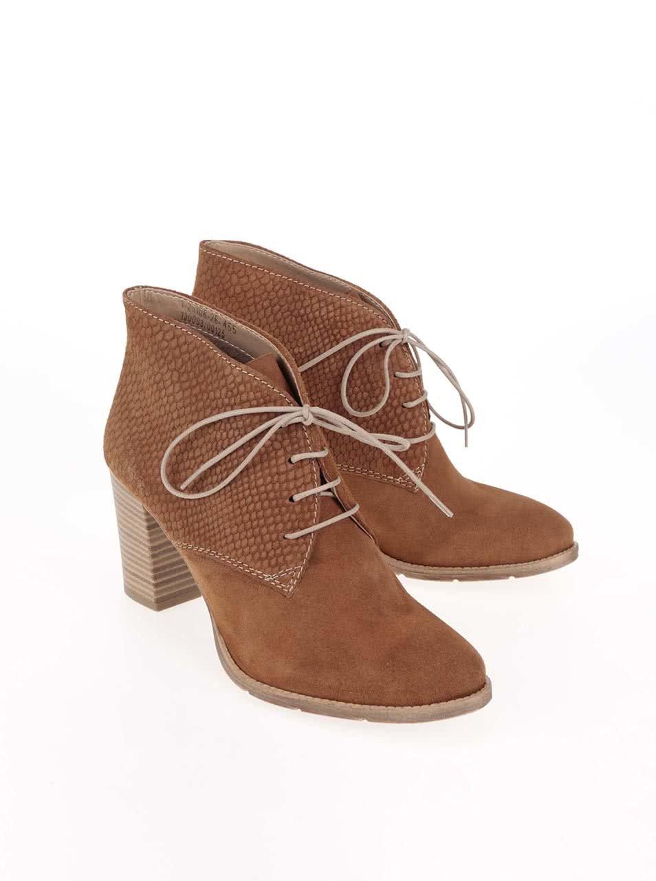 7d555bfe0 Hnedé kožené členkové šnurovacie topánky Tamaris | ZOOT.sk