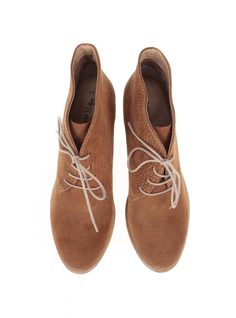 5f3eb51e3fdc2 Hnedé kožené členkové šnurovacie topánky Tamaris | ZOOT.sk