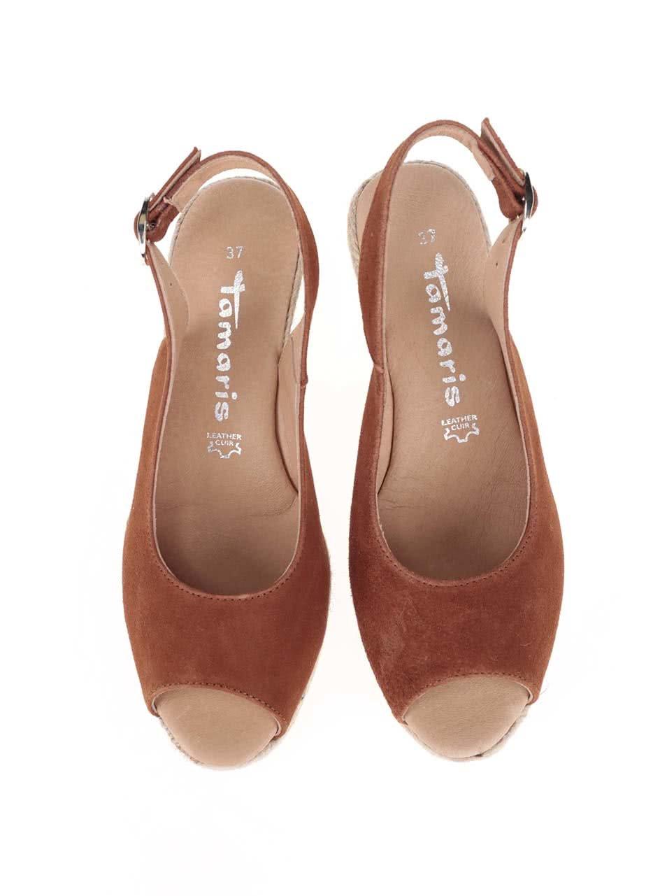 659d2f01ab5a Hnedé kožené sandálky na platforme Tamaris ...