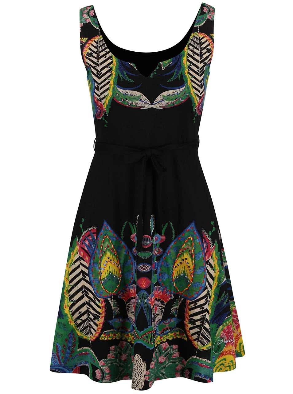 Černé šaty s barevnými vzory Desigual Sandra ... 597b5b6db7