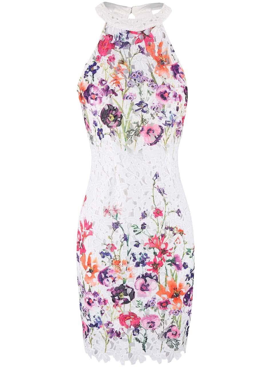 Bílé šaty s barevným potiskem květin Lipsy ... 3ed746b061