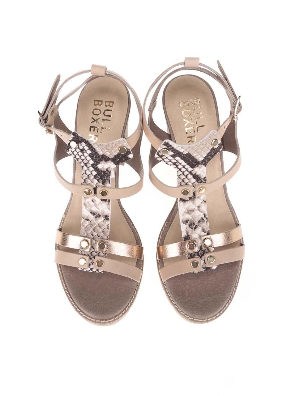 8b2af5f909e Dámské sandály na podpatku v barvě zlaté Bullboxer ...