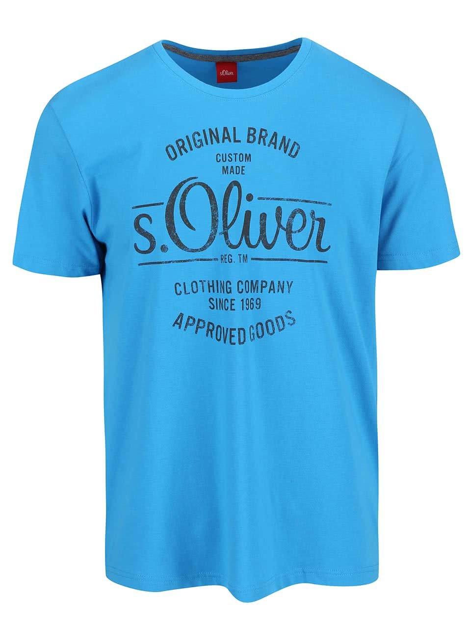 Modré pánské triko s potiskem s.Oliver