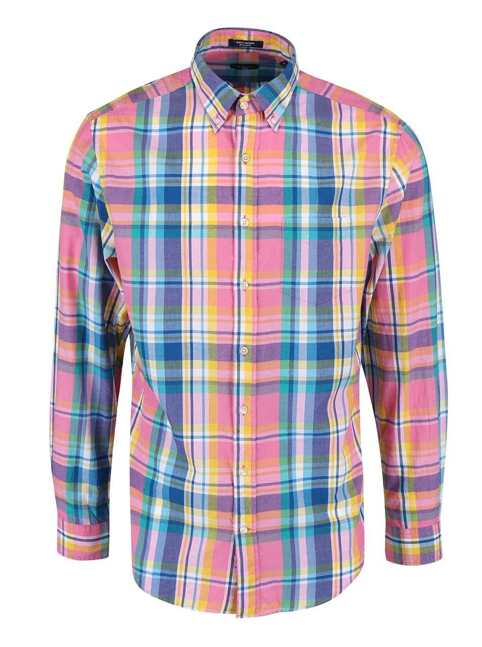 d0d4b764c939 Modro-ružová pánska kockovaná regular fit košeľa GANT ...