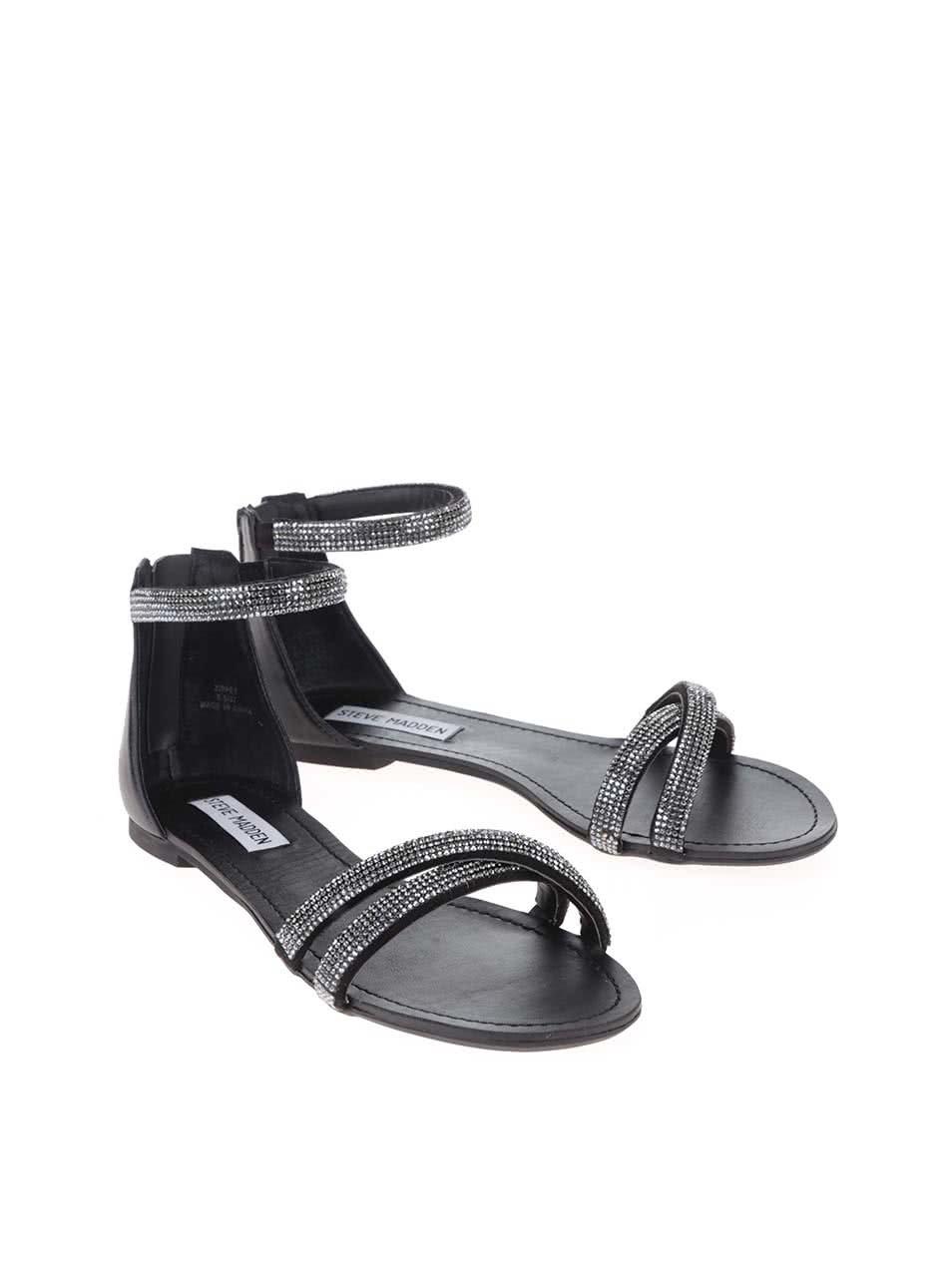 54fcb62d182b Čierno-strieborné dámske sandálky Steve Madden Zippey ...