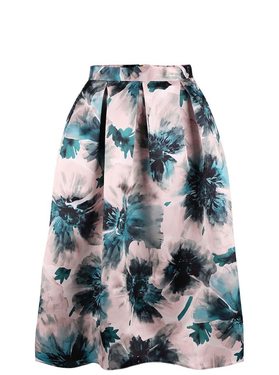 880d71fa0180 Ružová dlhá saténová sukňa s kvetmi Closet ...