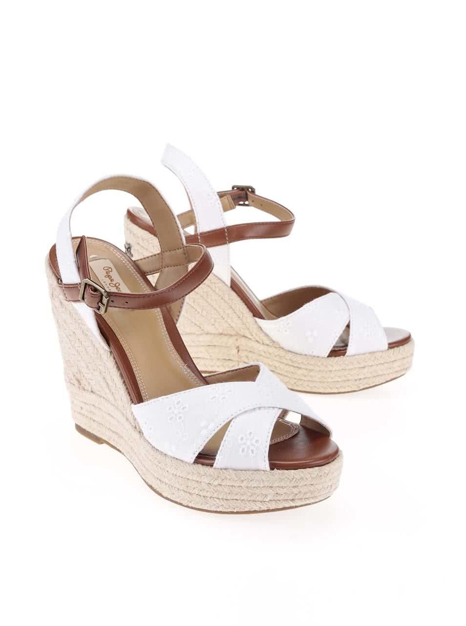 8eff2b3b3191 Biele dámske sandále na platforme Pepe Jeans ...