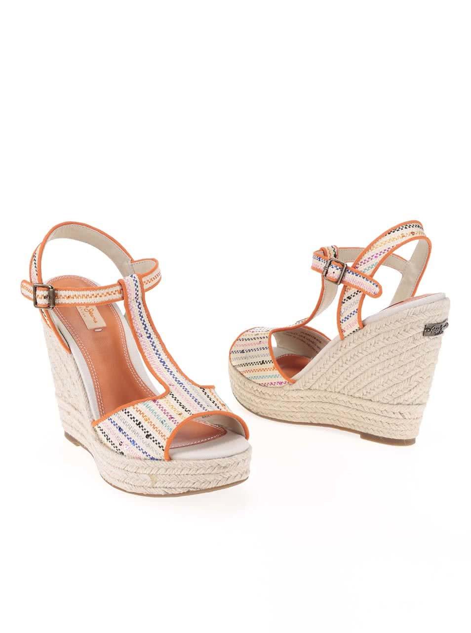 f4b4c87e0fb0 Oranžovo-béžové dámske sandále na platforme Pepe Jeans ...