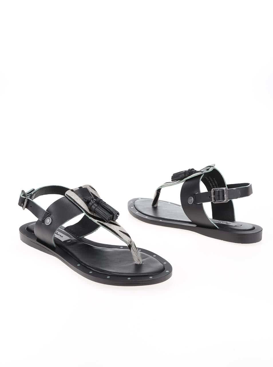 Černé dámské kožené sandálky se vzorem Pepe Jeans