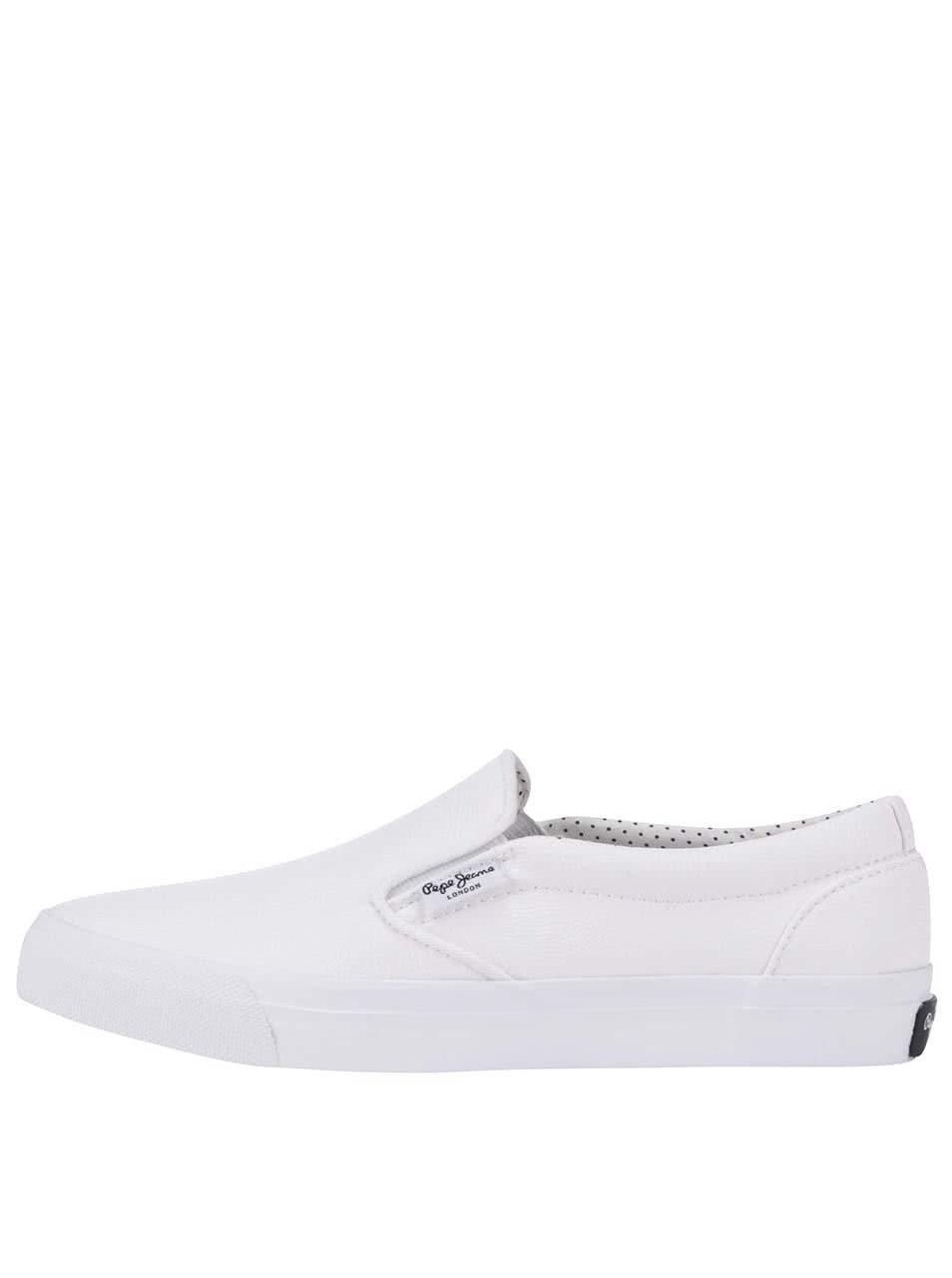 96c3589371d Bílé dámské slip on tenisky Pepe Jeans ...