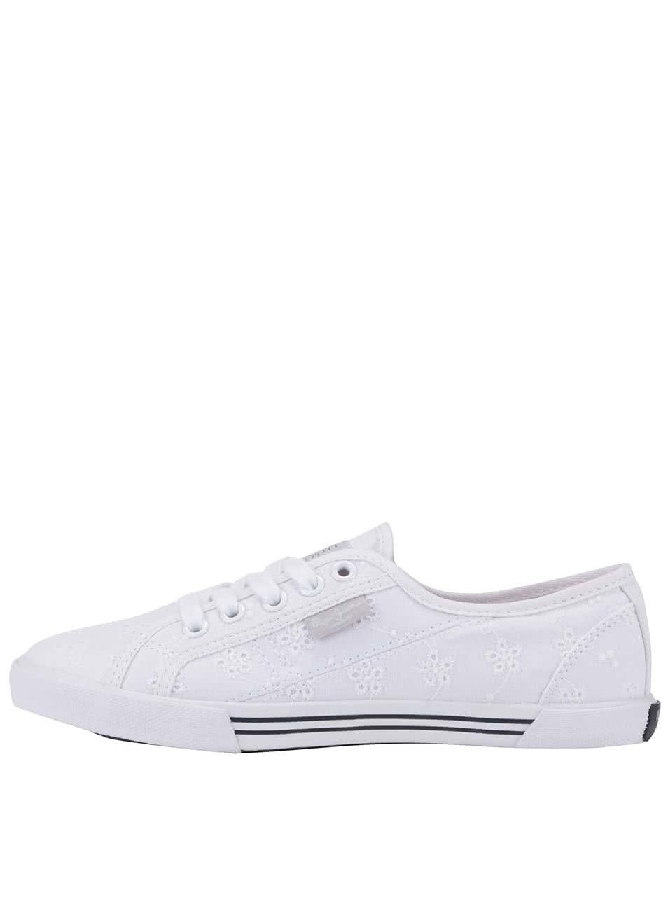 Bílé dámské vzorované tenisky Pepe Jeans ... 5c6048a2408