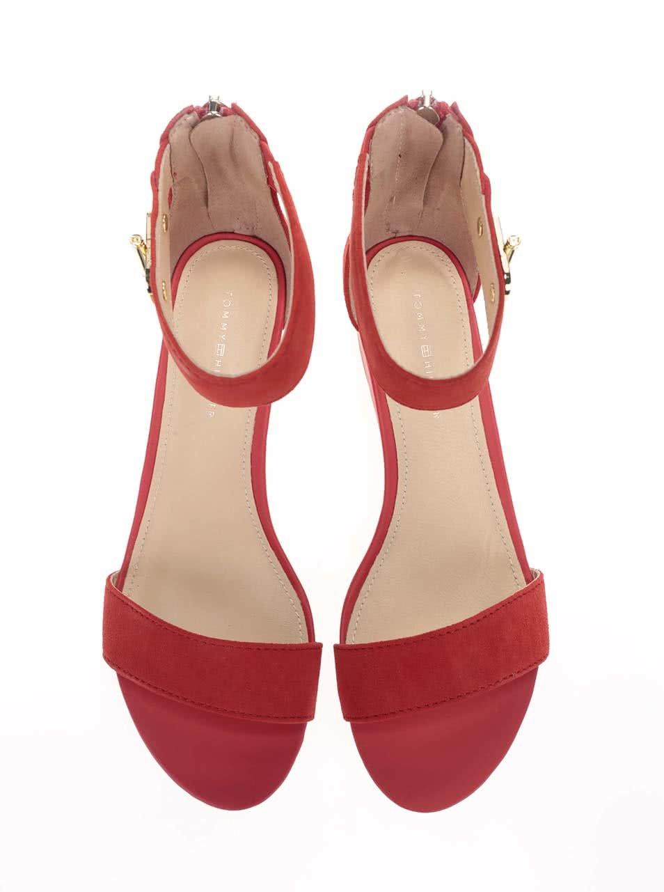 899734da521b Červené dámske kožené sandále Tommy Hilfiger ...