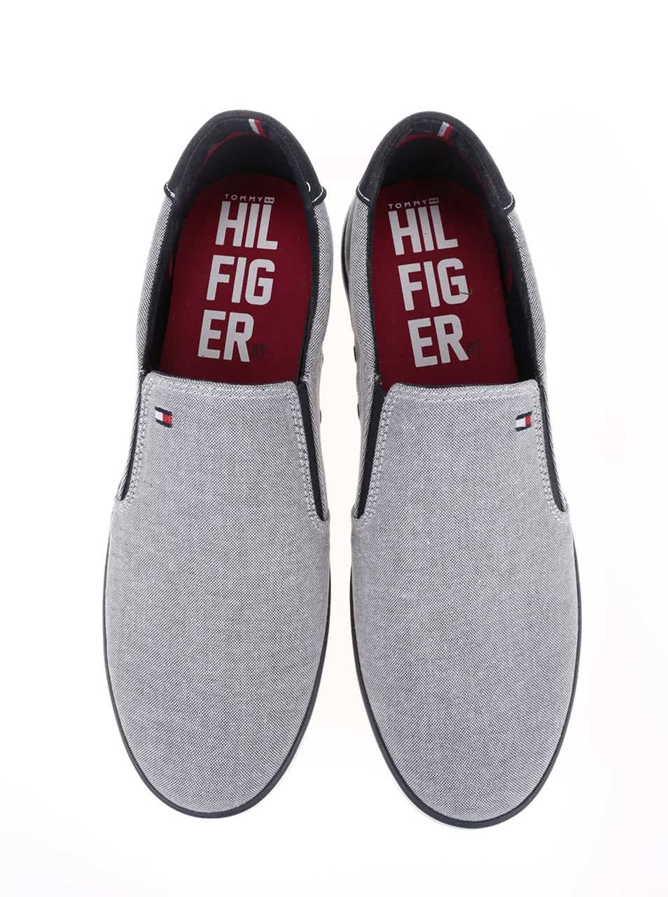 Sivé pánske slip on tenisky s červeným detailom Tommy Hilfiger Arlow ... 2f6c970894c