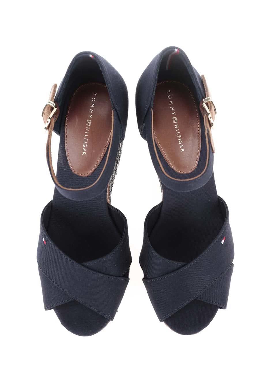 Modré dámské bavlněné boty na klínku Tommy Hilfiger ... fd1e099423
