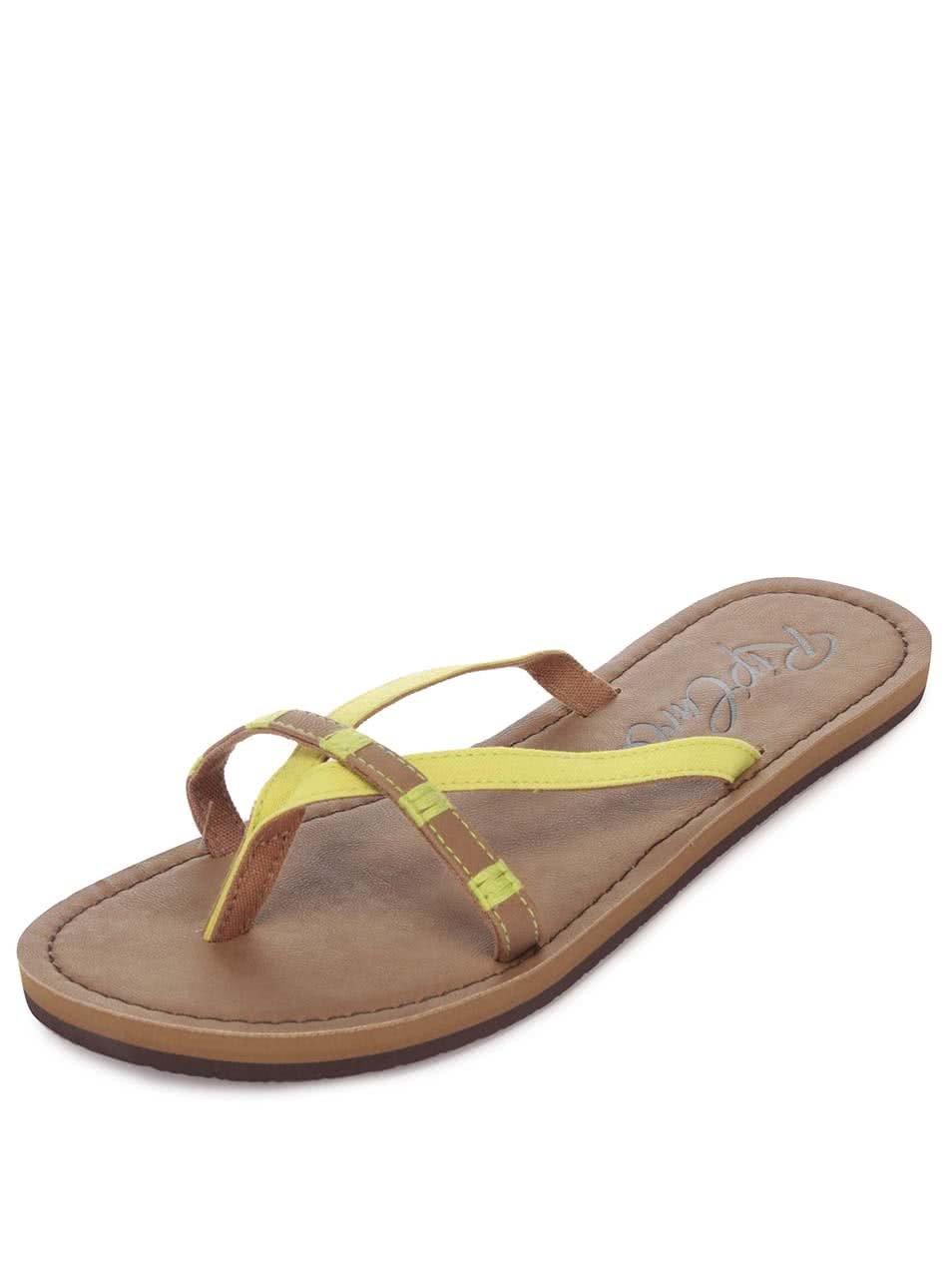 Žluto-hnědé dámské žabky s ozdobnými korálky Rip Curl Coco ... 29855d6a11