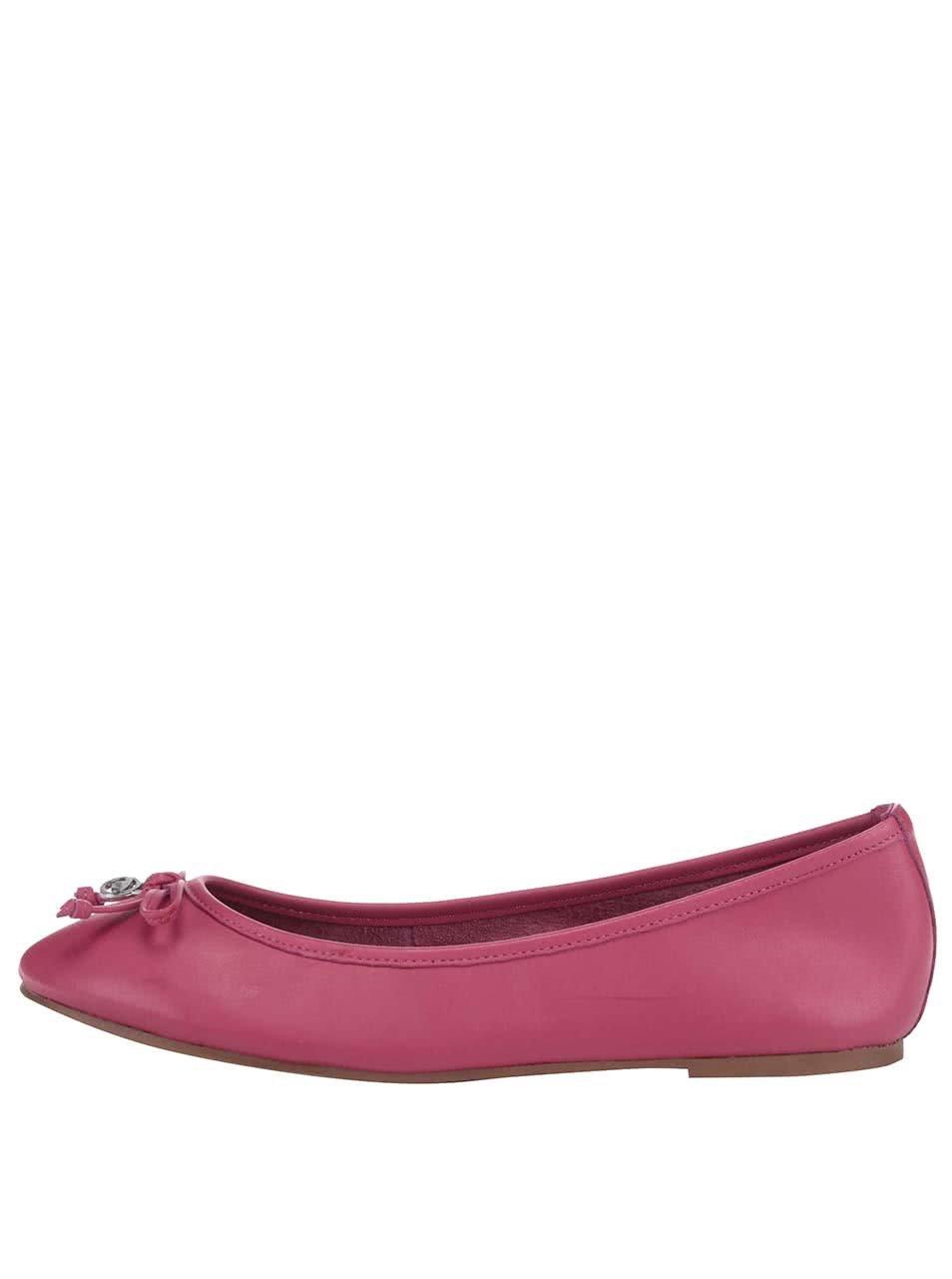 0300adf53802 Růžové kožené baleríny s mašličkou Tom Tailor ...
