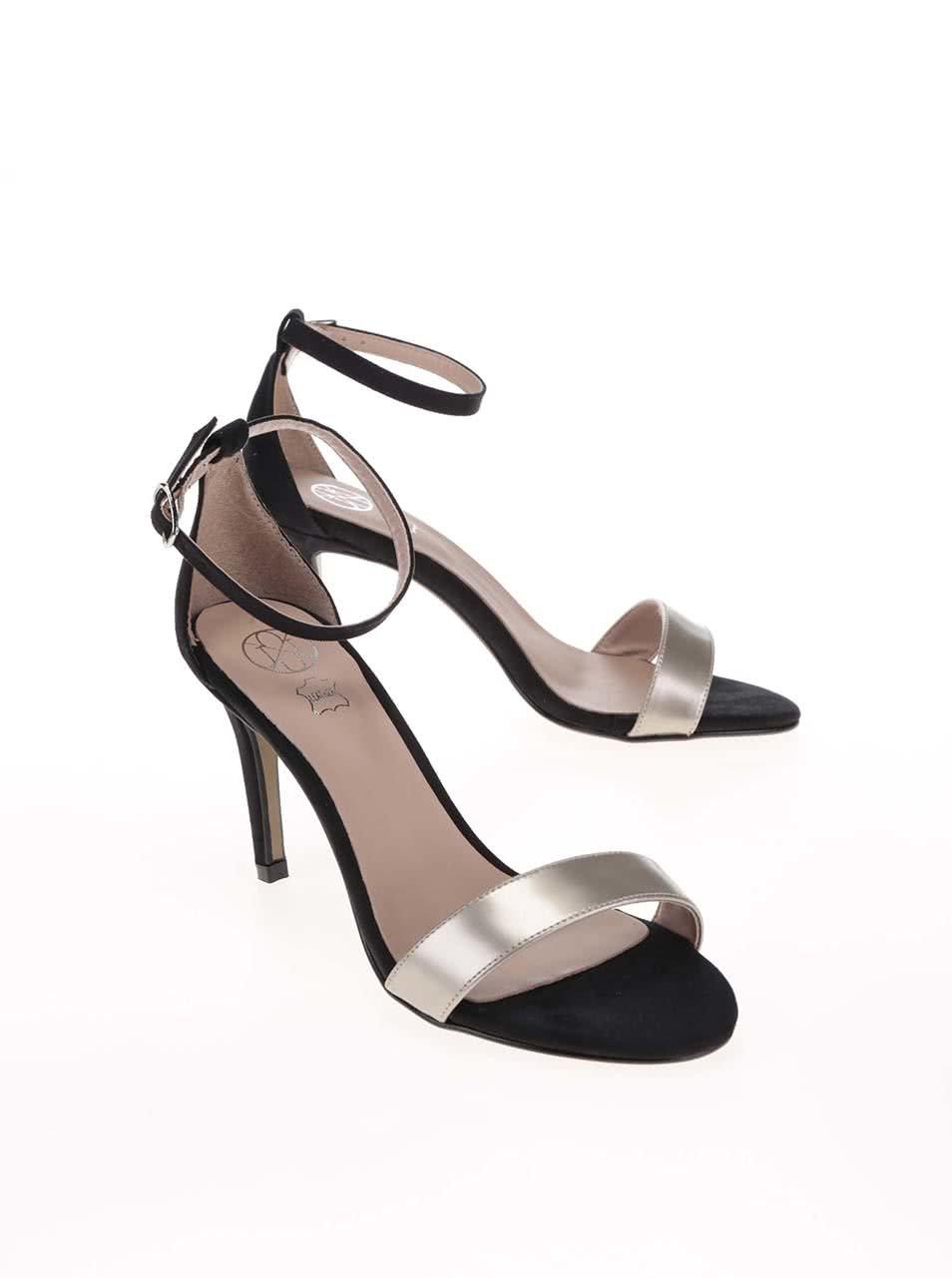 a58f96c66 Čierne sandále na podpätku s remienkom v striebornej farbe OJJU ...