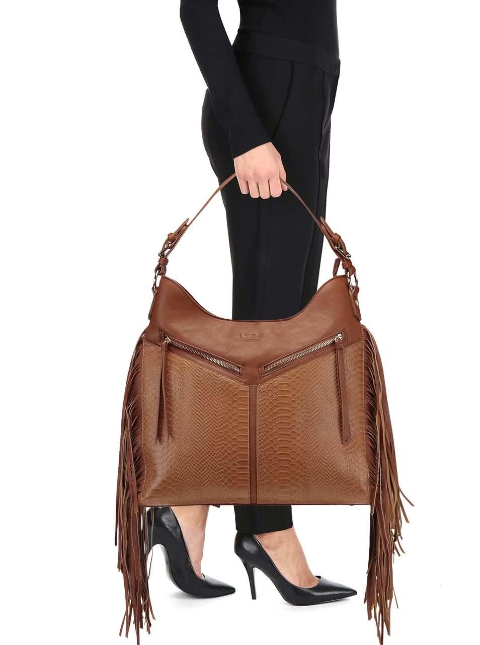 32f73b101c Hnedá kabelka so strapcami LYDC