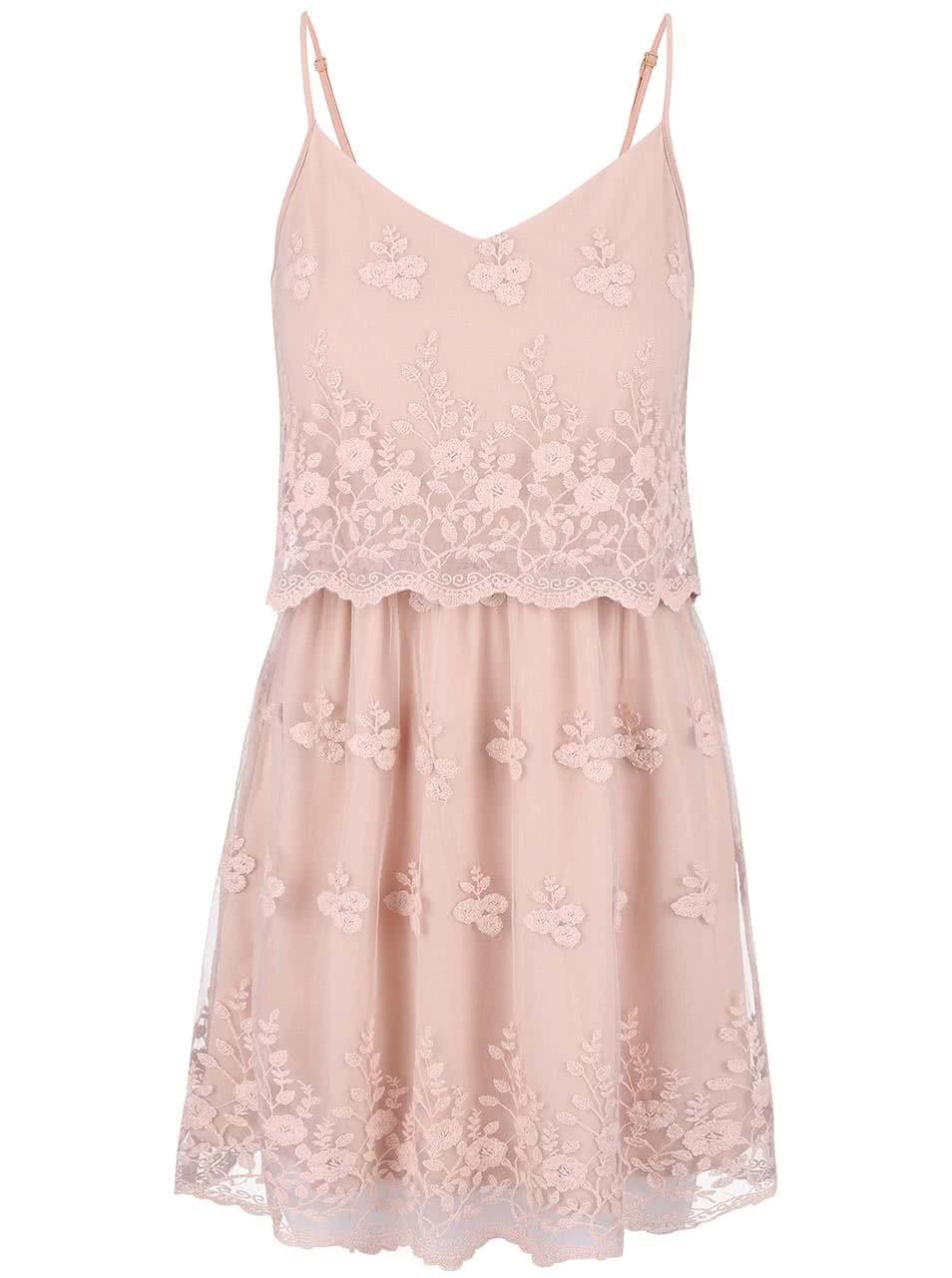 Púdrovo ružové romantické čipkované šaty VERO MODA Kiki ... f7bdfc123e5