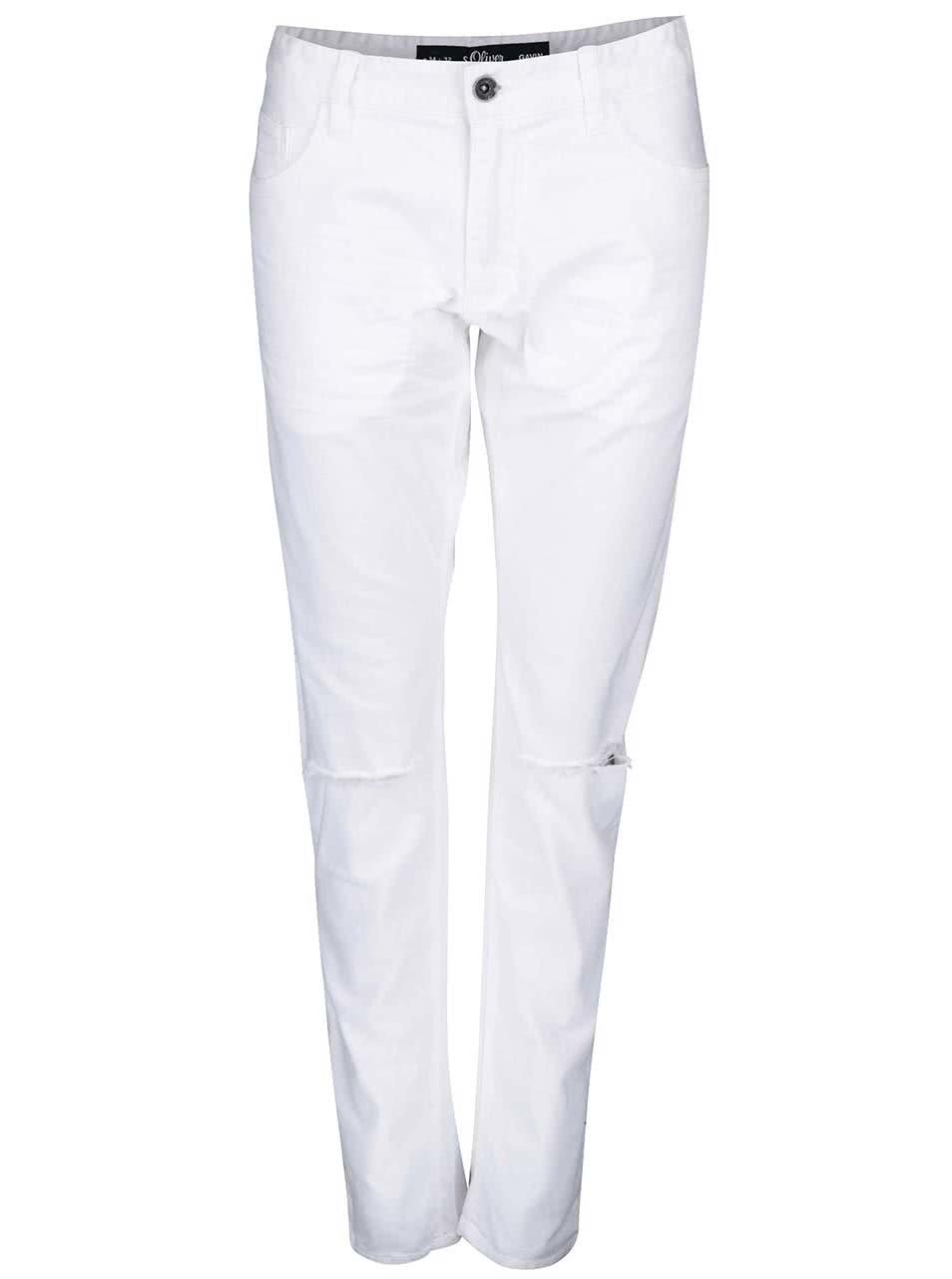 Bílé pánské skinny džíny s roztrhanými koleny s.Oliver  f6840b4a96