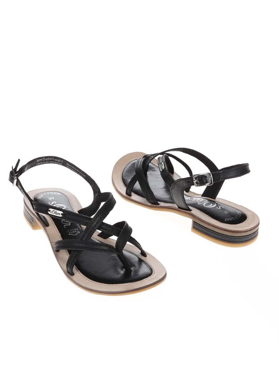 cc585de8adb8 Černé kožené dámské sandálky s tenkou podrážkou s.Oliver ...