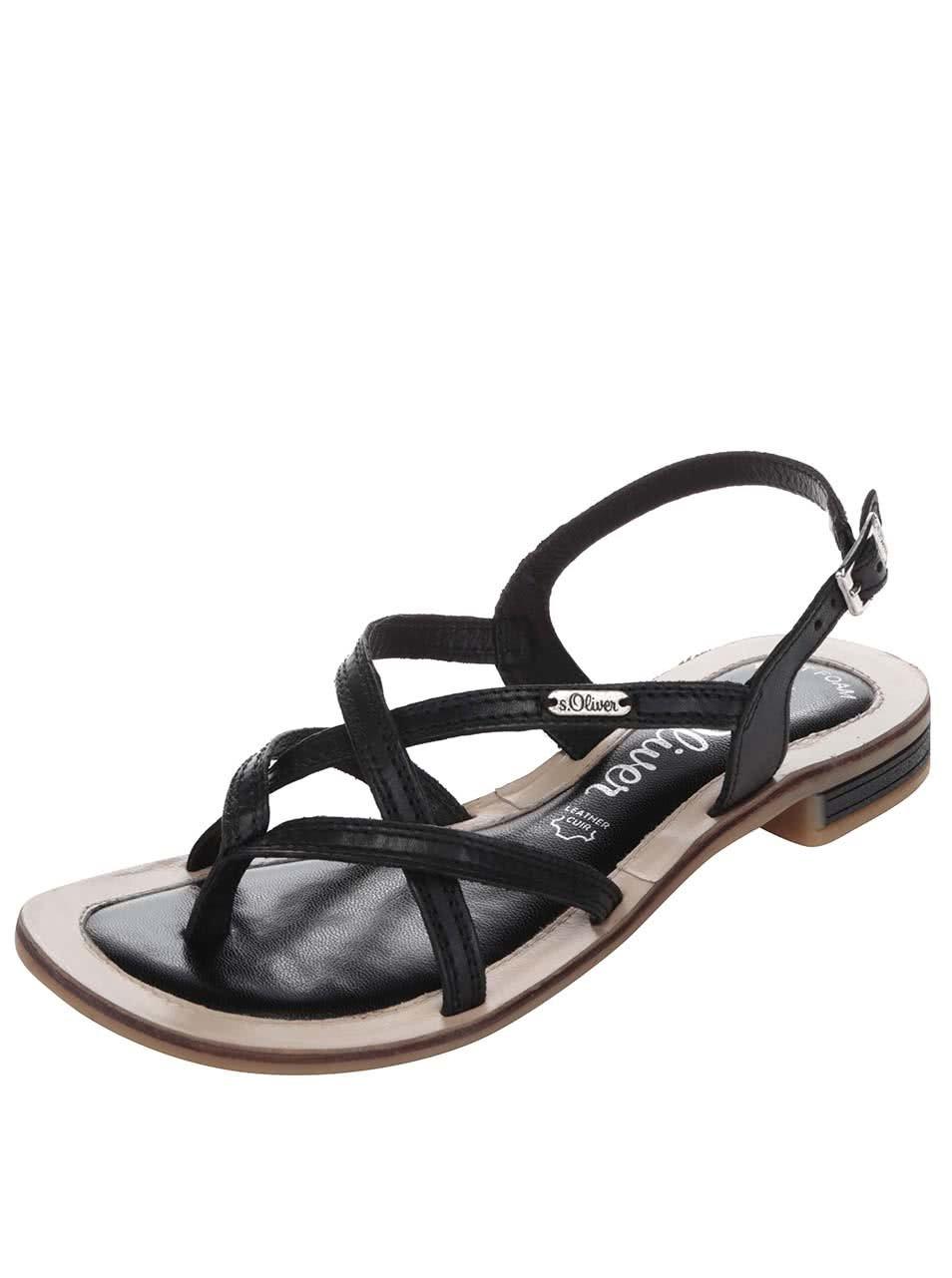 58cc8c298ad0 Čierne kožené dámske sandále s tenkou podrážkou s.Oliver