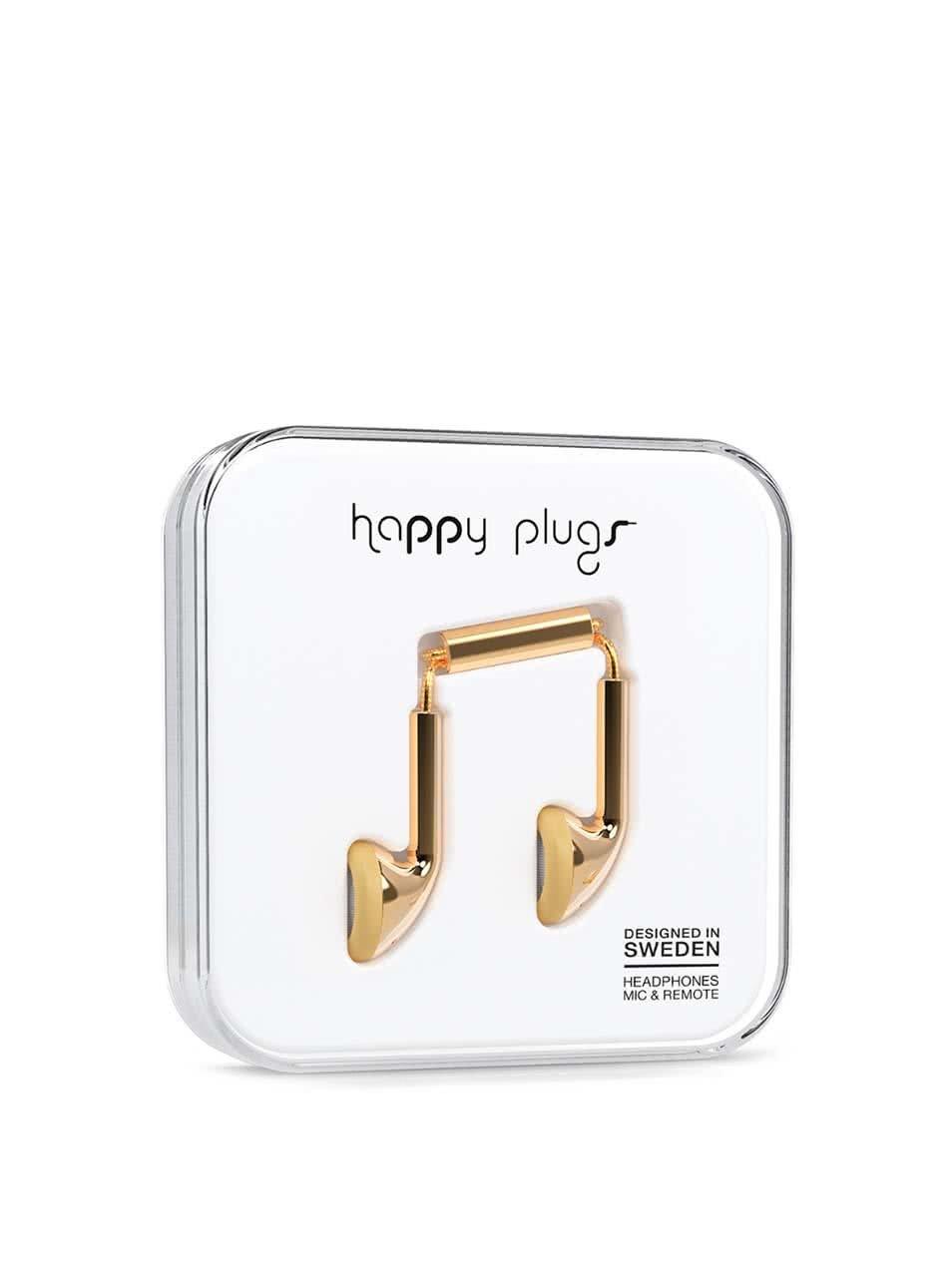 Earbud sluchátka ve zlaté barvě Happy Plugs