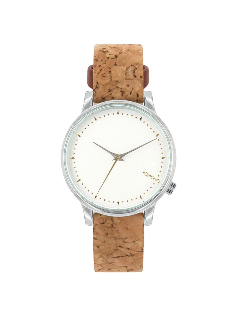 Dámské hodinky ve stříbrné barvě s hnědým korkovým páskem Komono Estelle ... d6bdf95bf8
