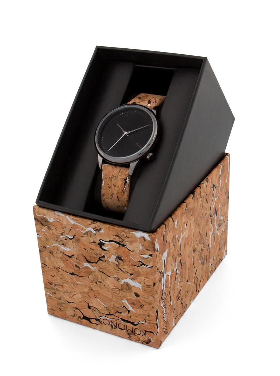 Černé dámské hodinky s hnědým korkovým páskem Komono Estelle ... 12cc2a0b53