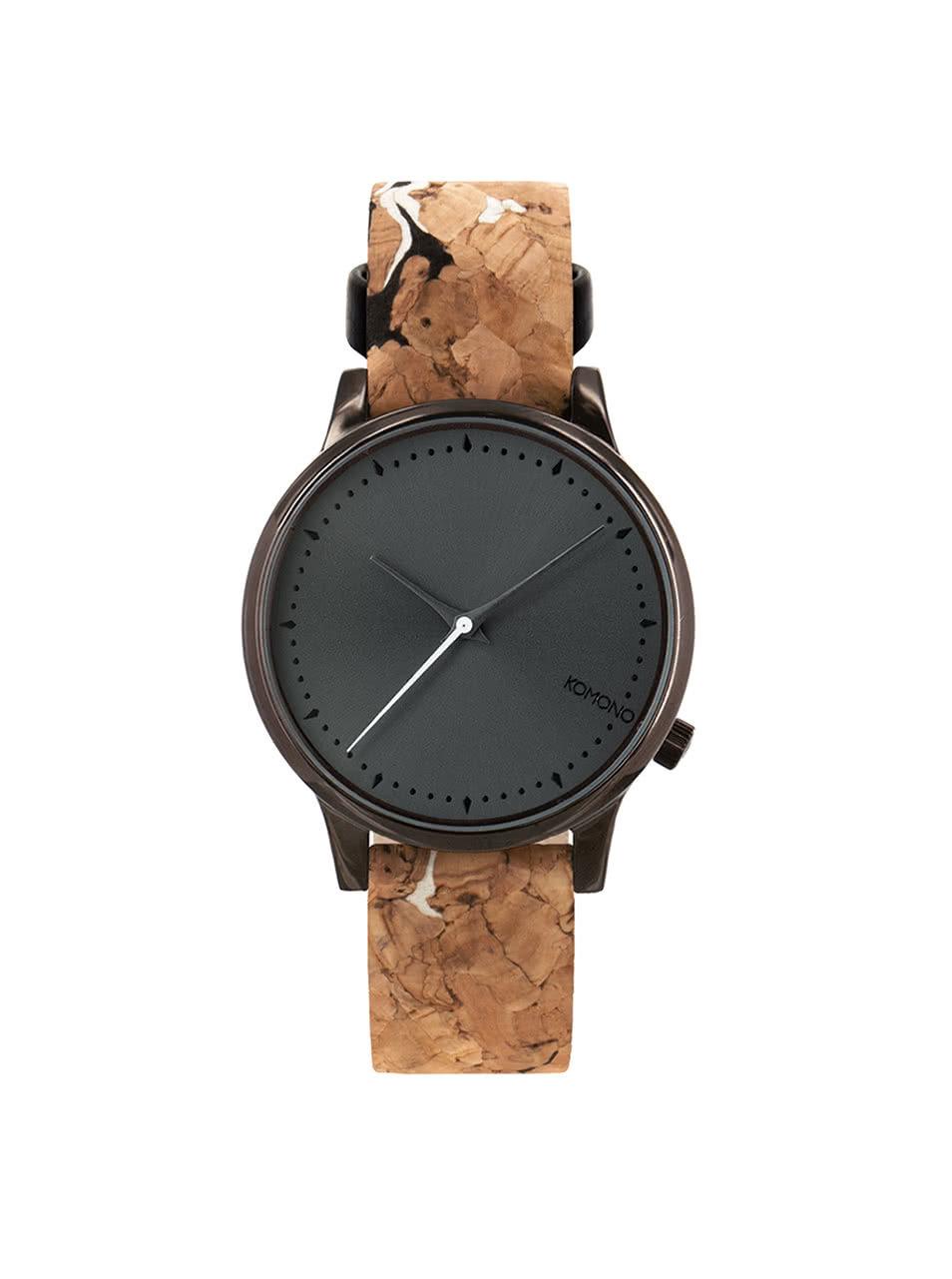Černé dámské hodinky s hnědým korkovým páskem Komono Estelle ... 83d6e9e715