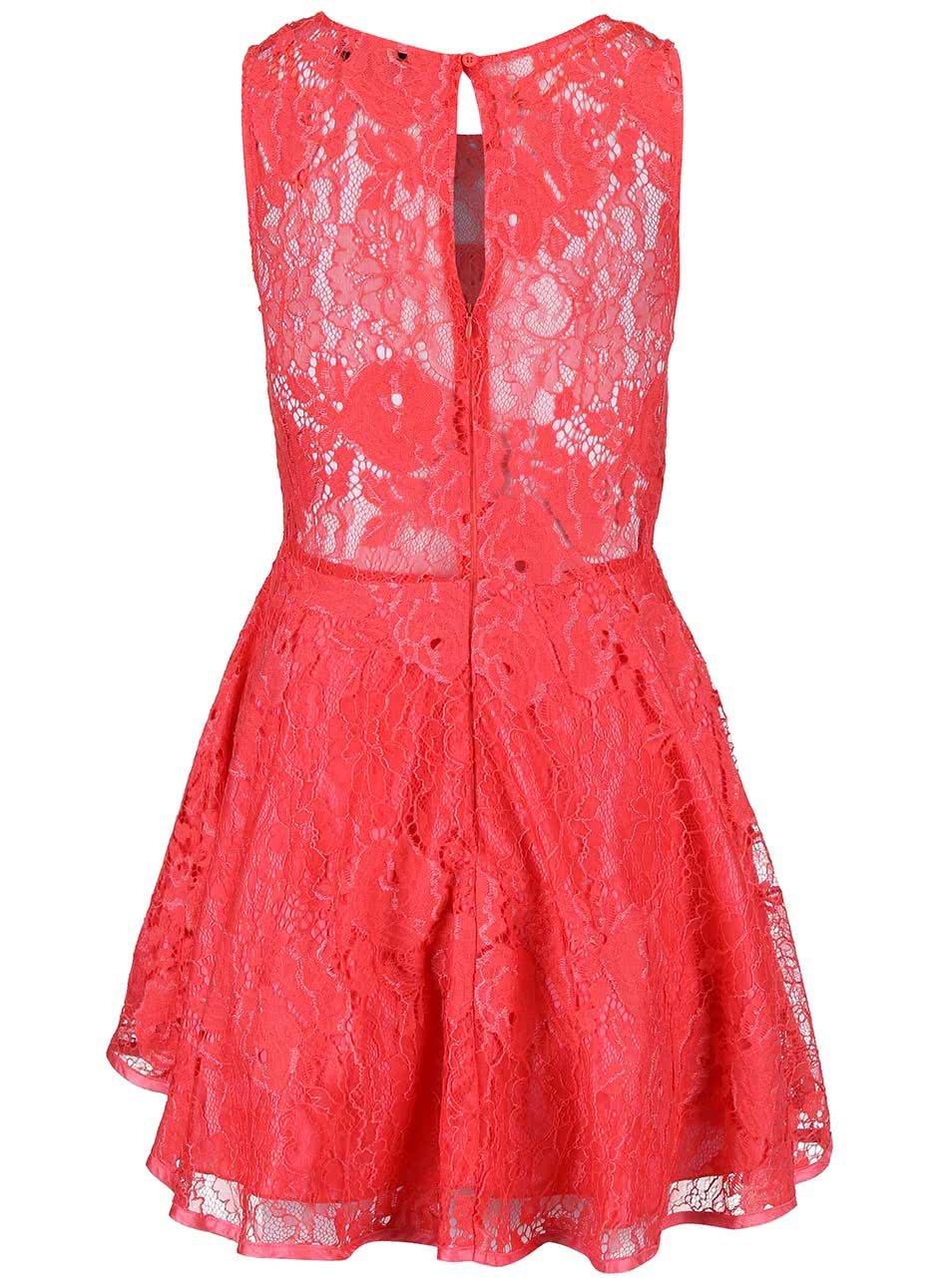 1a14b84a0f4b Koralové čipkované šaty AX Paris ...