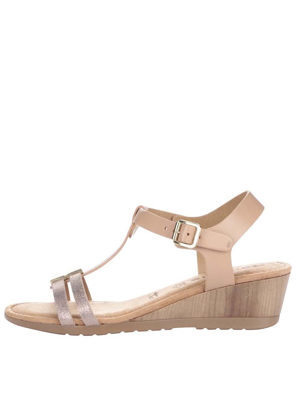 f62fabdded Tělové kožené sandálky na klínku Tamaris ...