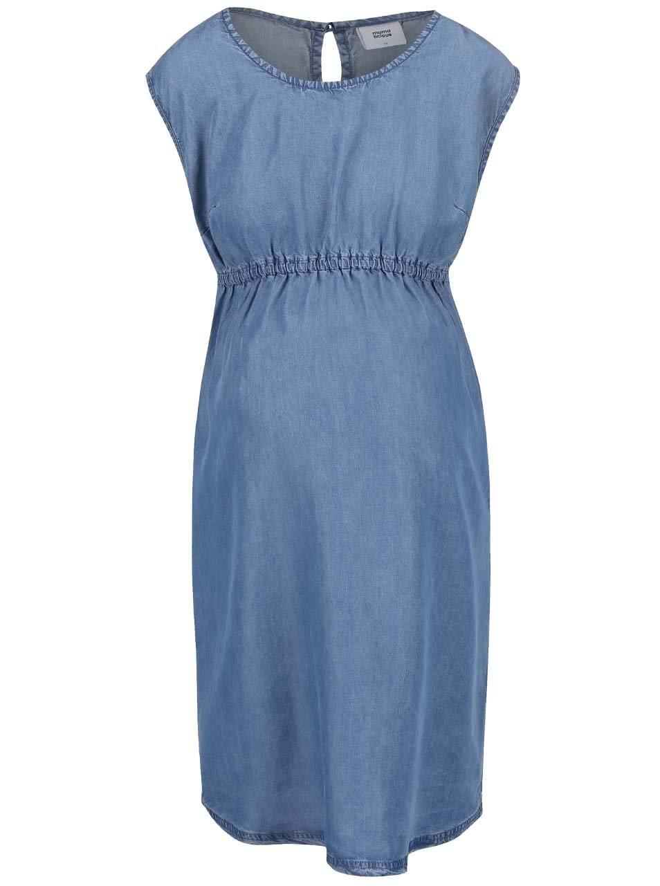 89a5af3c5e7b Modré rifľové tehotenské šaty Mama.licious Teresa ...