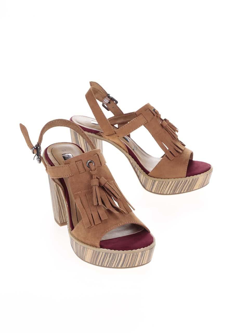 b86bdf98e38c Hnedé topánky na podpätku a platforme Tamaris ...