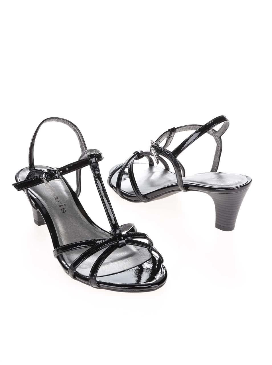 54f821b23ba7 Čierne lesklé sandálky na podpätku Tamaris ...
