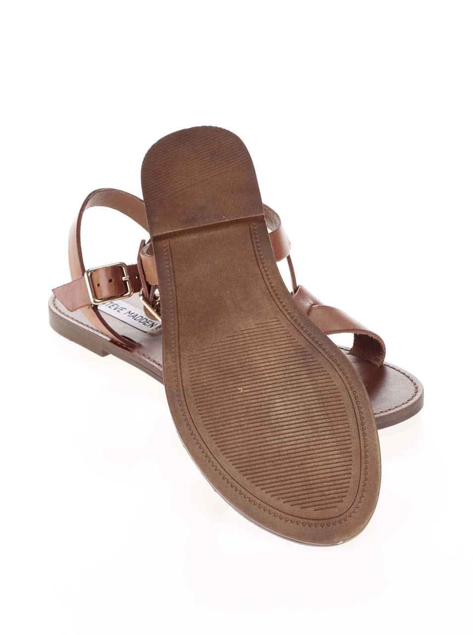 7210383cd838 Hnedé dámske kožené sandále Steve Madden Dublin ...