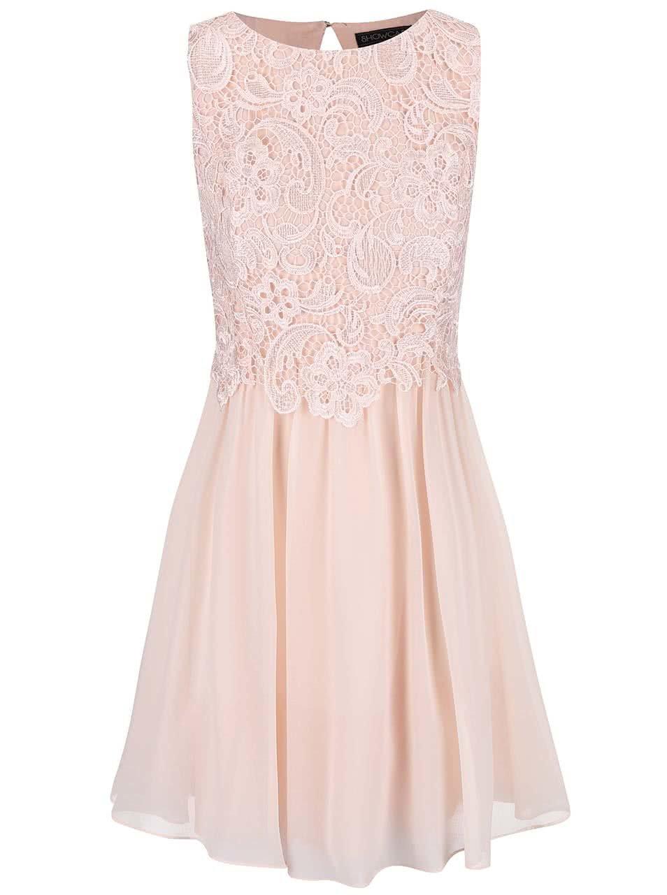 Světle růžové šaty s krajkovým topem Dorothy Perkins ... 3eddbcd2e2
