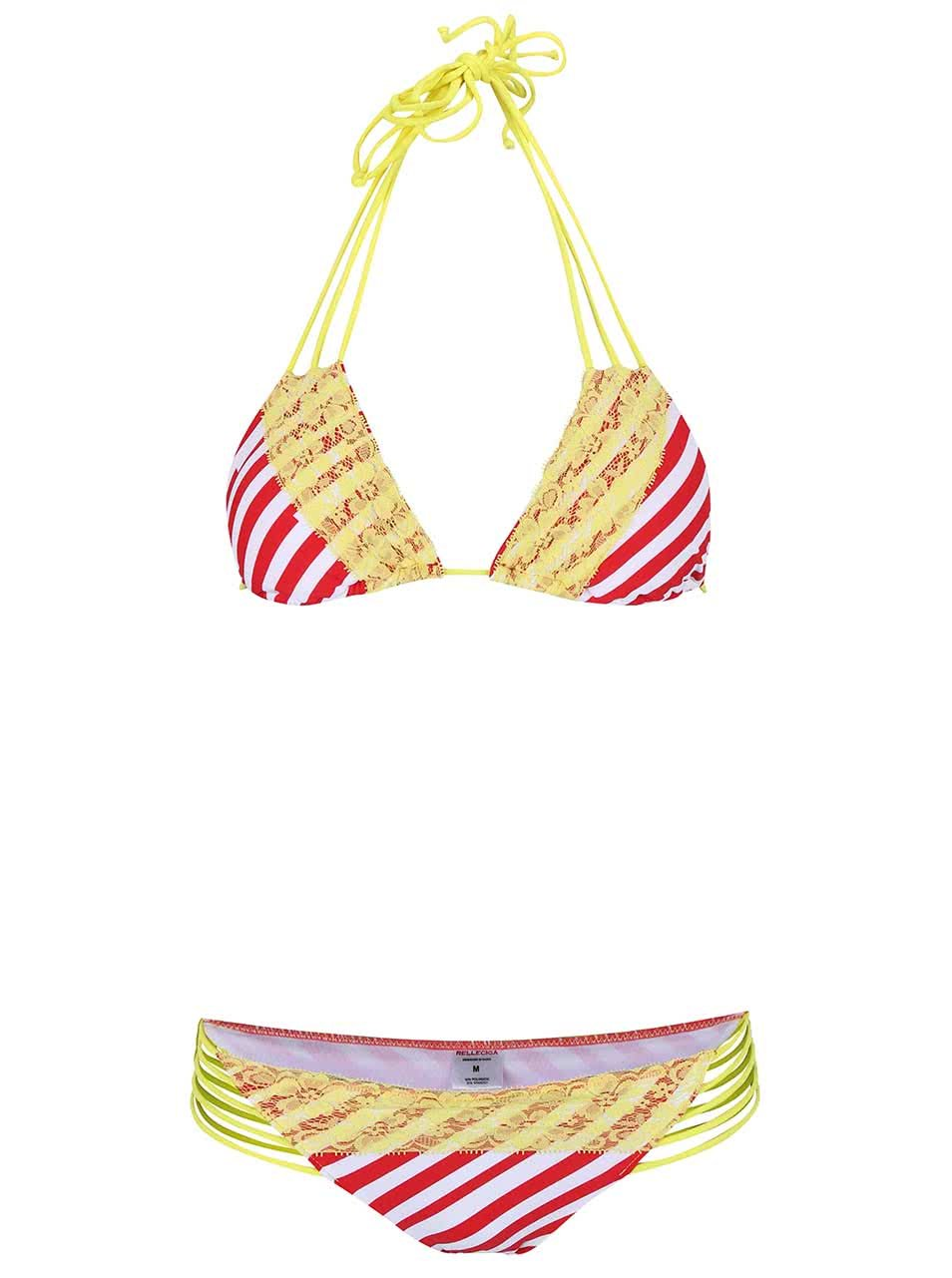 Červeno-žluté pruhované dvoudílné plavky s krajkou Relleciga ... 69dc3d4ae0