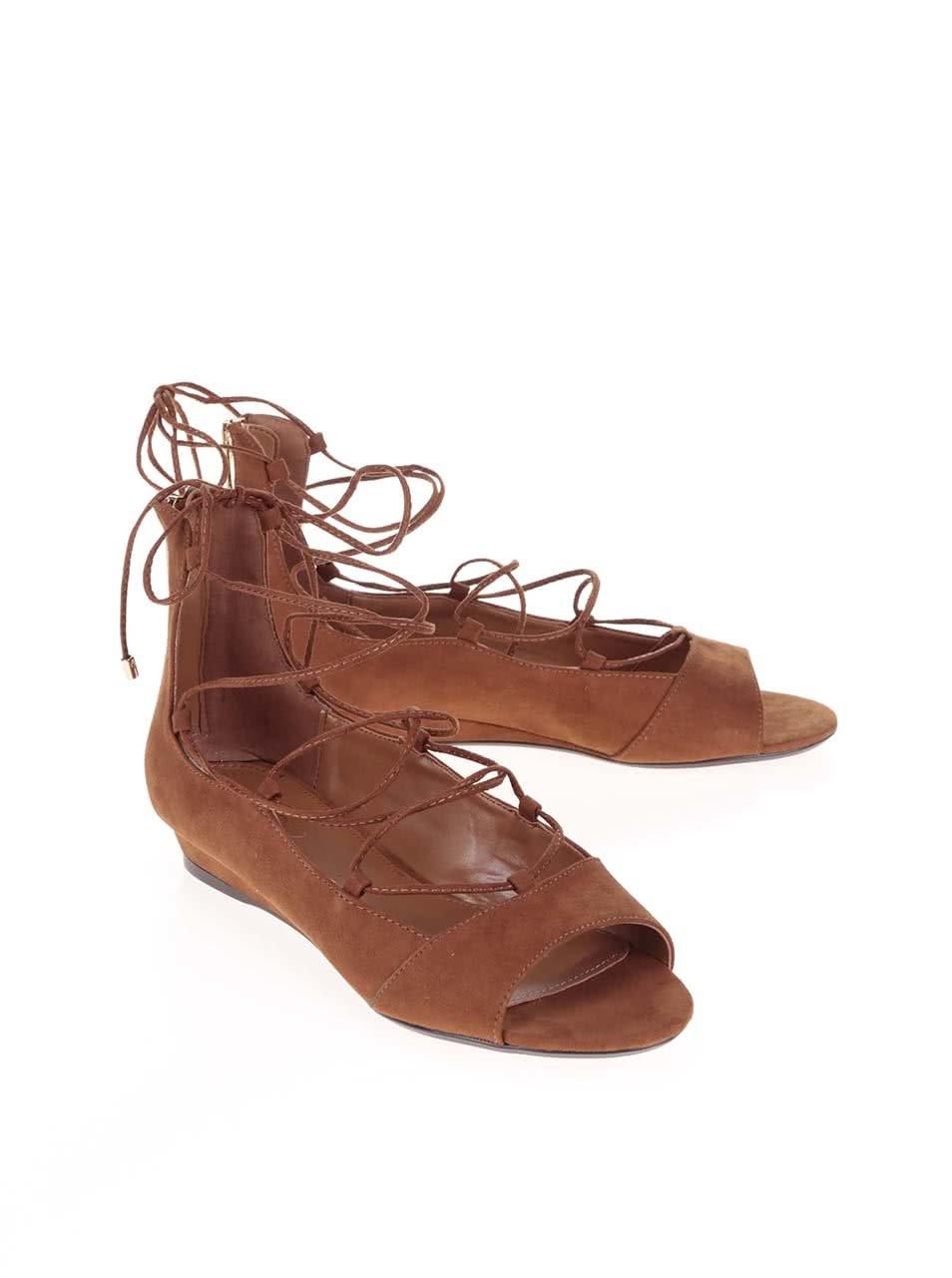 6cc05dc312cd Hnedé šnurovacie sandále na klinovom podpätku ALDO Arla ...