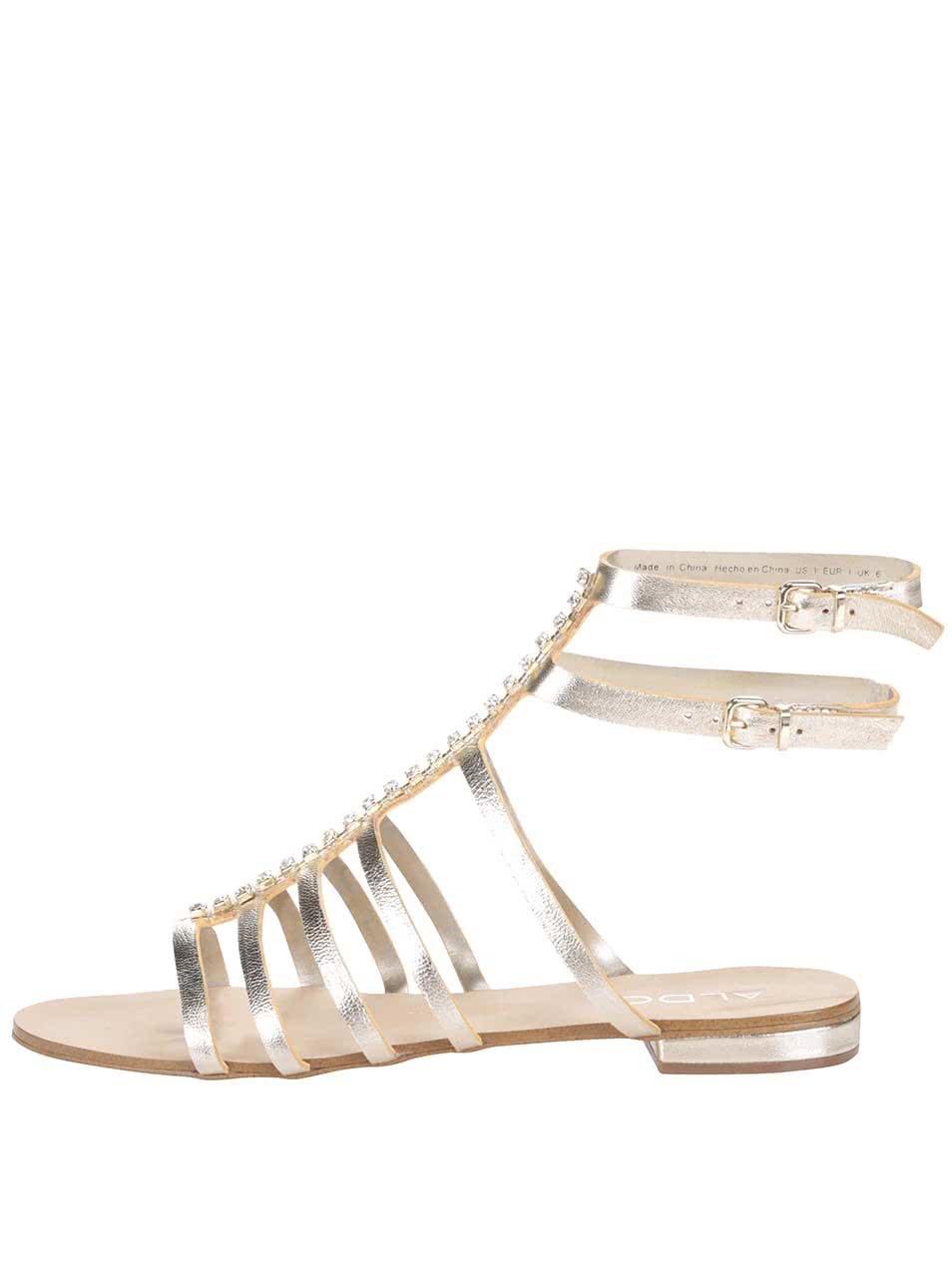 a4a0bd30e6 Remienkové kožené sandále v zlatej farbe s kamienkami ALDO Fishwick ...
