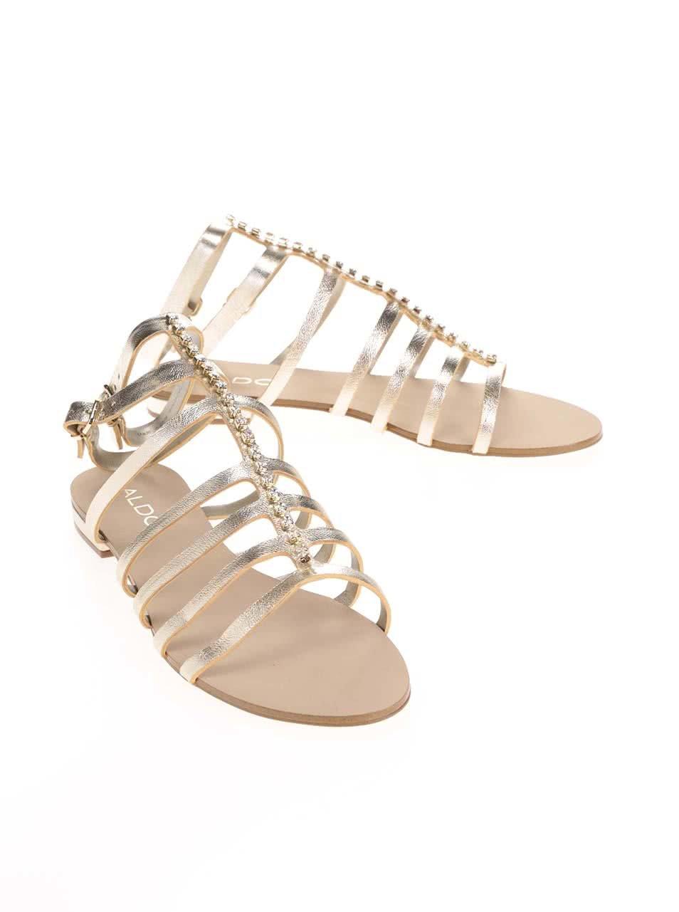 955d33a8e0 Remienkové kožené sandále v zlatej farbe s kamienkami ALDO Fishwick ...