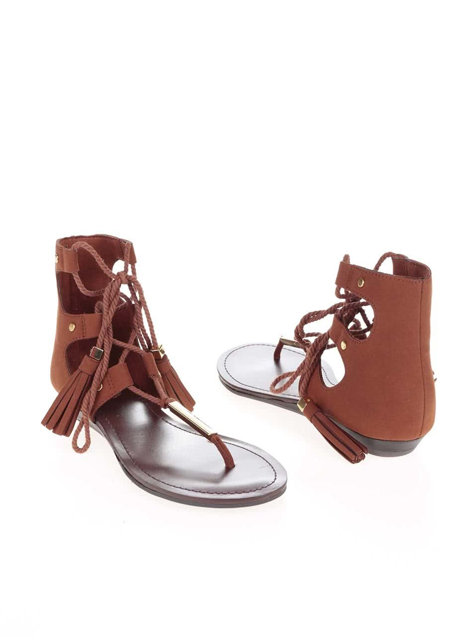 7f6b5a4b5316 Hnedé sandále so šnurovaním a zdobením v zlatej farbe ALDO Jakki ...