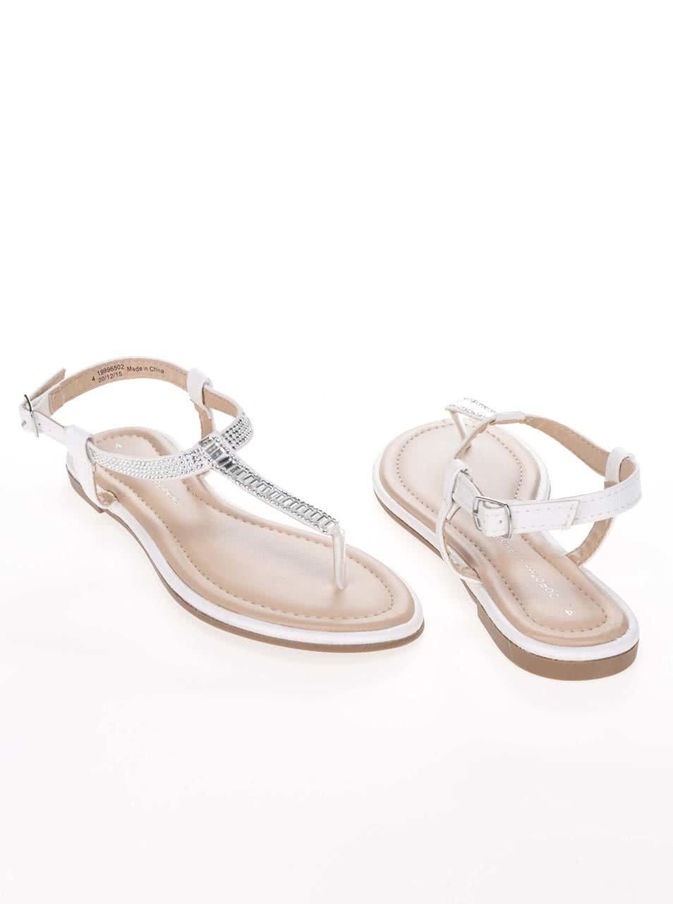21693c7f34d3 Krémovo-biele sandále s kamienkami v striebornej farbe Dorothy Perkins ...
