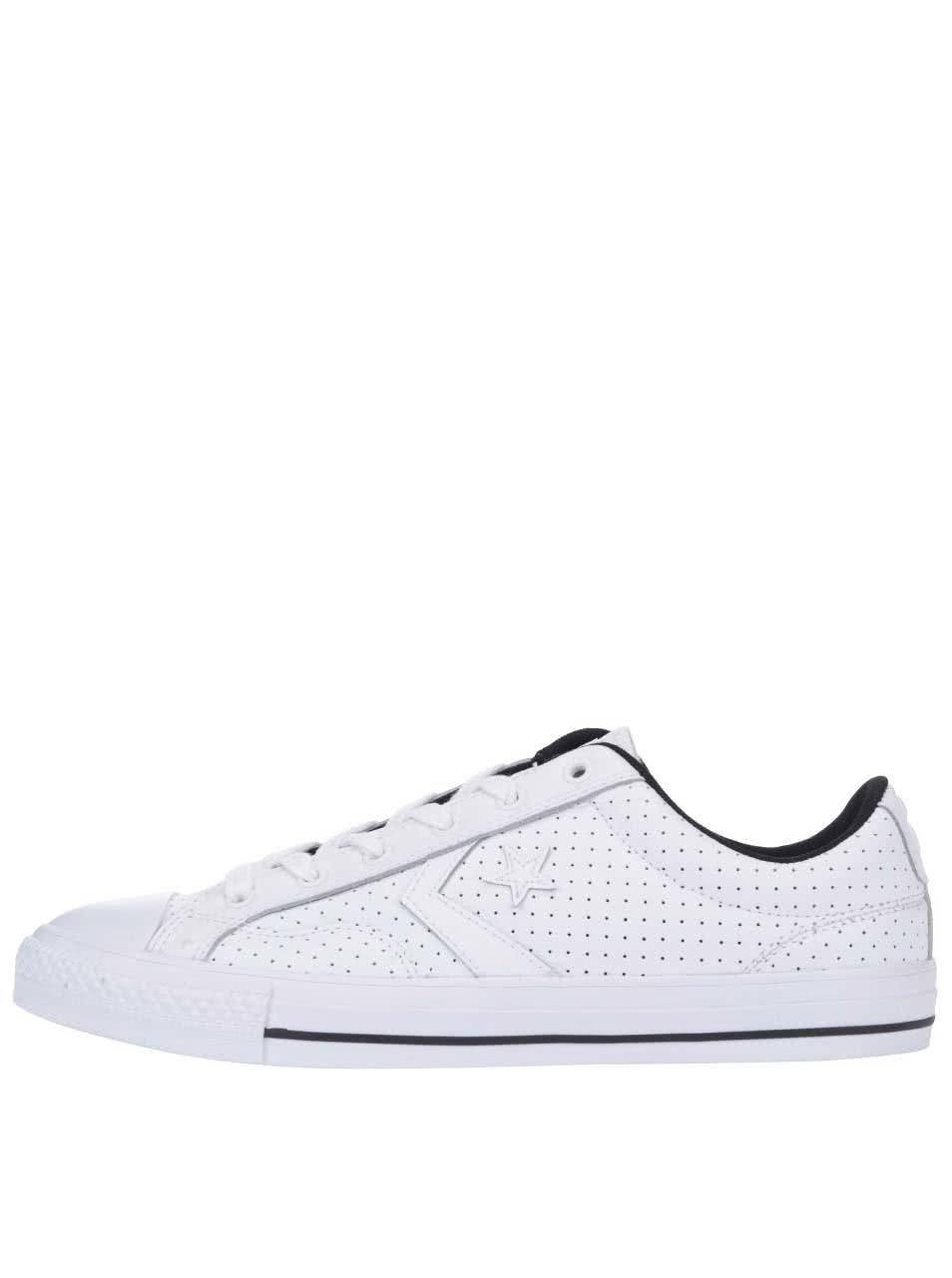 Biele pánske kožené perforované tenisky Converse Star Player ... 1bdd5d55298
