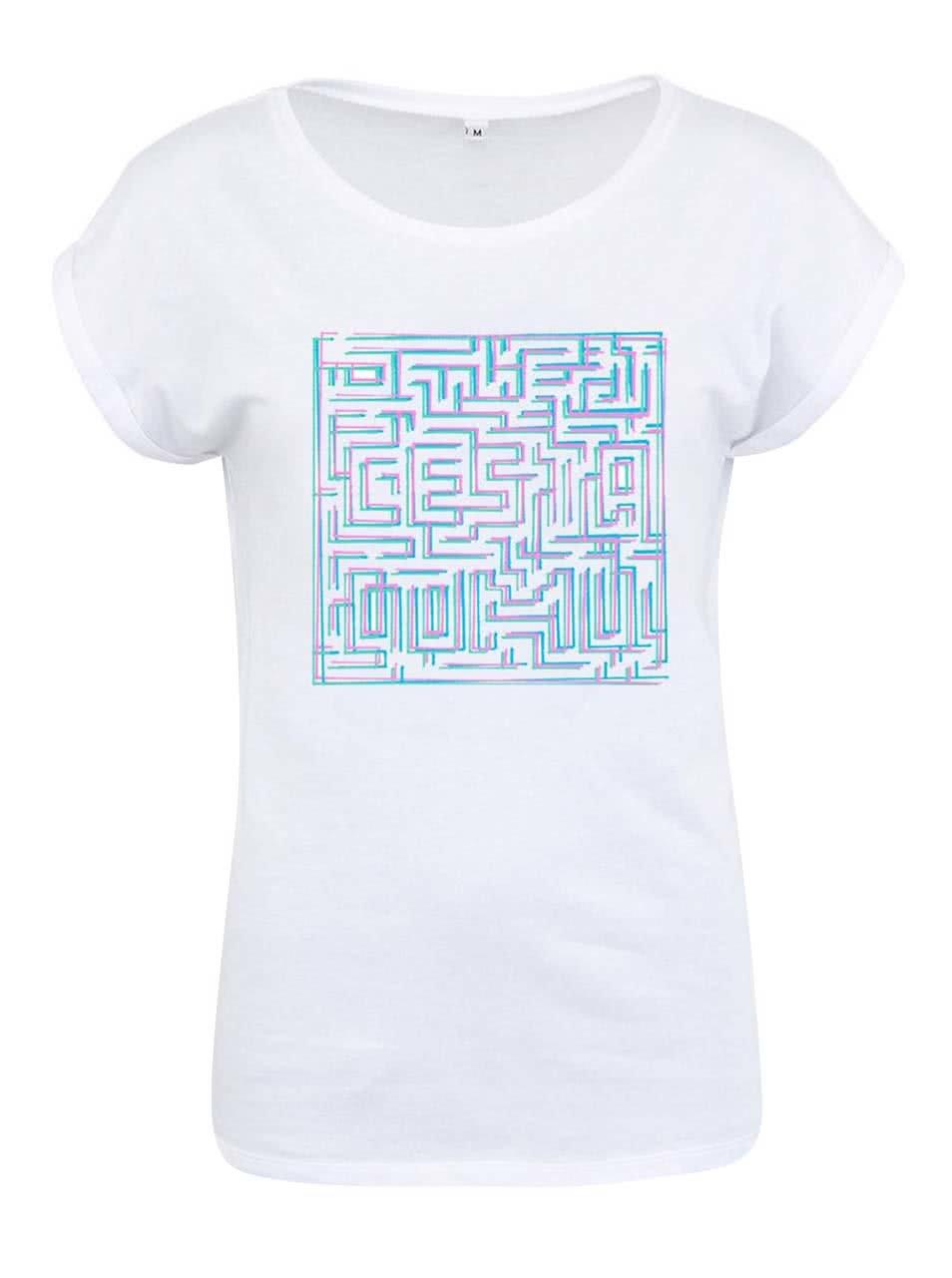 """""""Dobré"""" bílé dámské triko s bludištěm Cesta domů"""