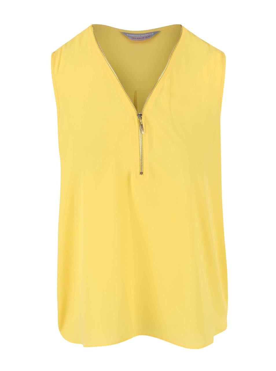 6d91f890a8b Žlutá halenka se zipem ve výstřihu ve zlaté barvě Dorothy Perkins Petite ...