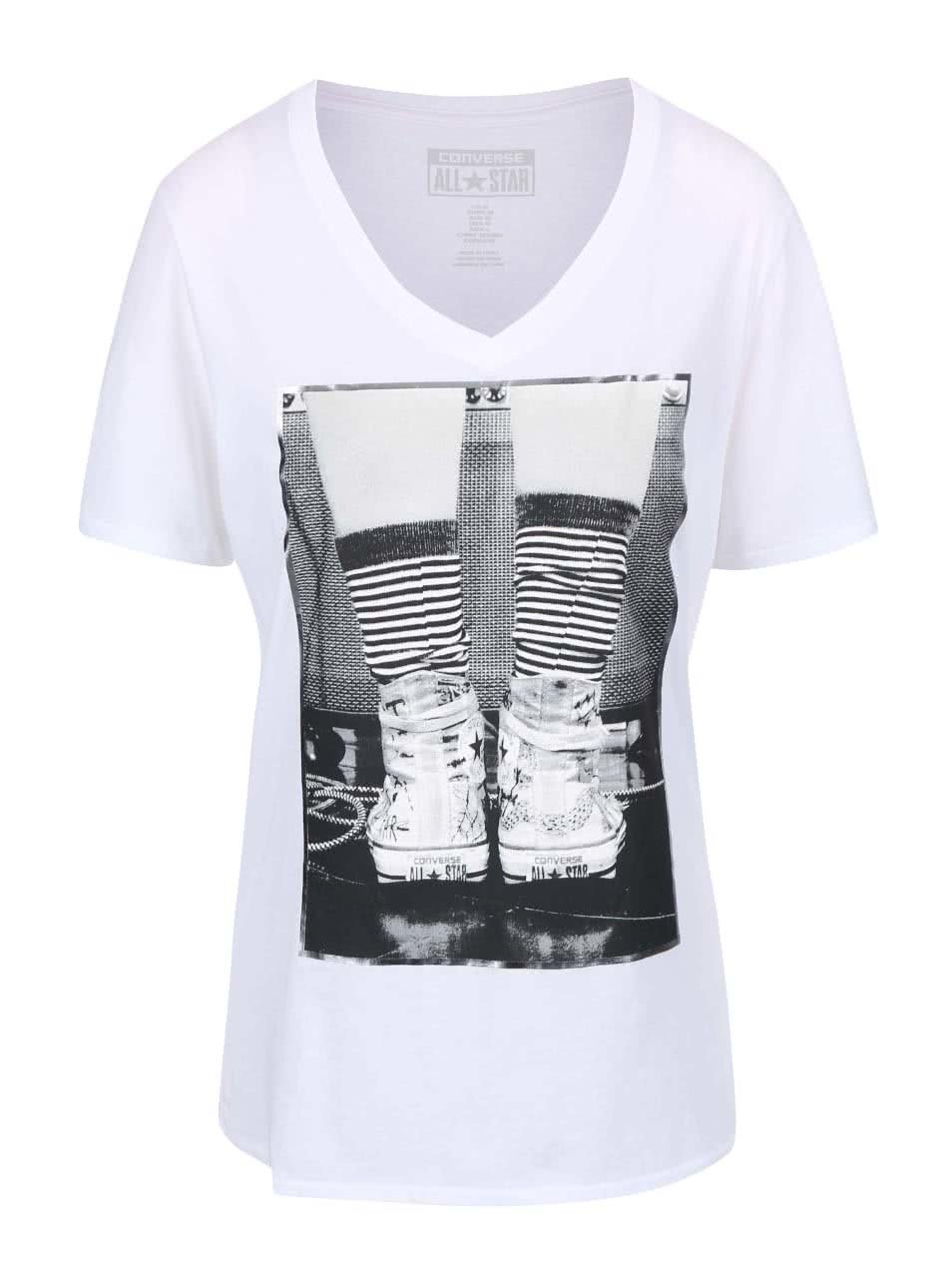 Biele dámske tričko s véčkovým výstrihom Converse ... e44bd873db5